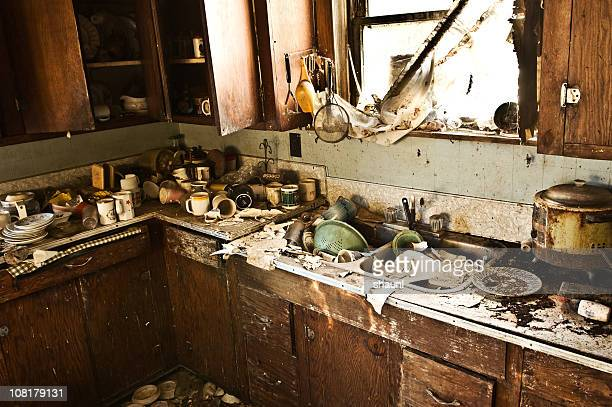 grunge kitchen - messy stock pictures, royalty-free photos & images