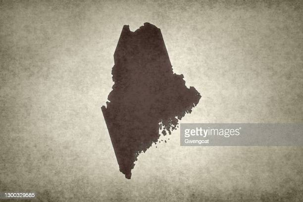 grunge map of the state of maine - gwengoat stock pictures, royalty-free photos & images