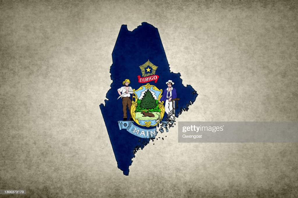 Grunge map of the state of Maine with its flag printed within : Stock Photo