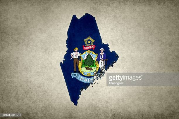 grunge map of the state of maine with its flag printed within - gwengoat stock pictures, royalty-free photos & images