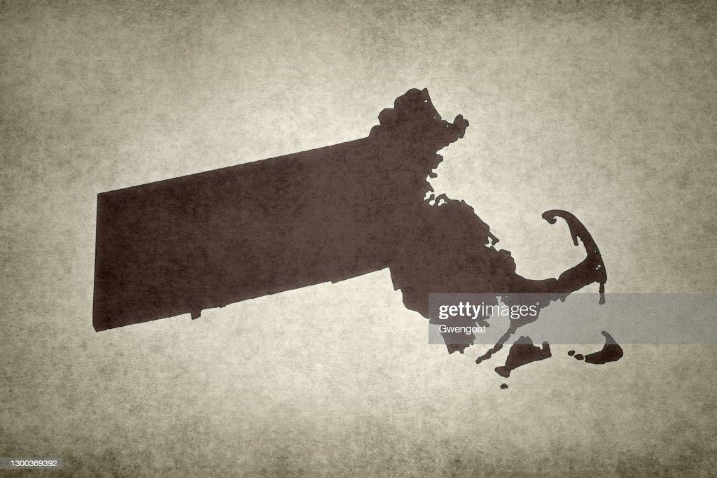 Grunge map of the state of Massachusetts : Stock Photo