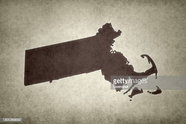 grunge map of the state of massachusetts - gwengoat stock pictures, royalty-free photos & images