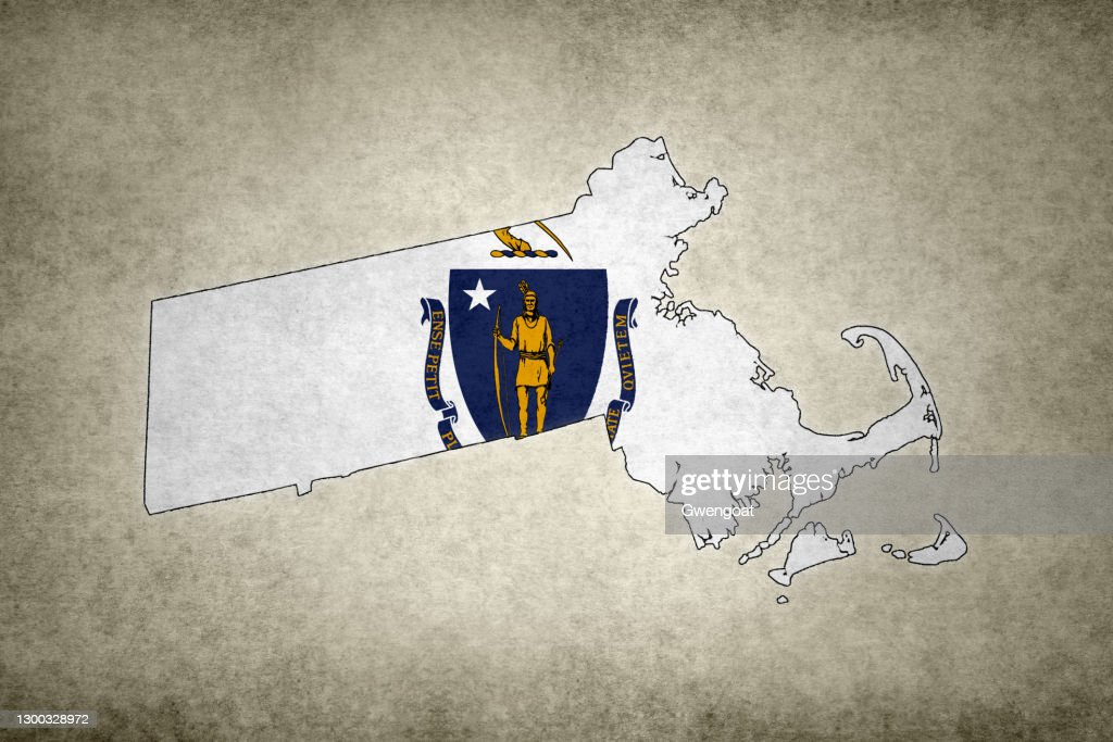 Grunge map of the state of Massachusetts with its flag printed within : Stock Photo