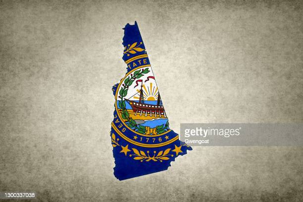 grunge map of the state of new hampshire with its flag printed within - gwengoat stock pictures, royalty-free photos & images