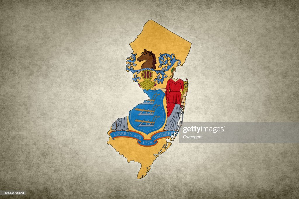 Grunge map of the state of New Jersey with its flag printed within : Stock Photo