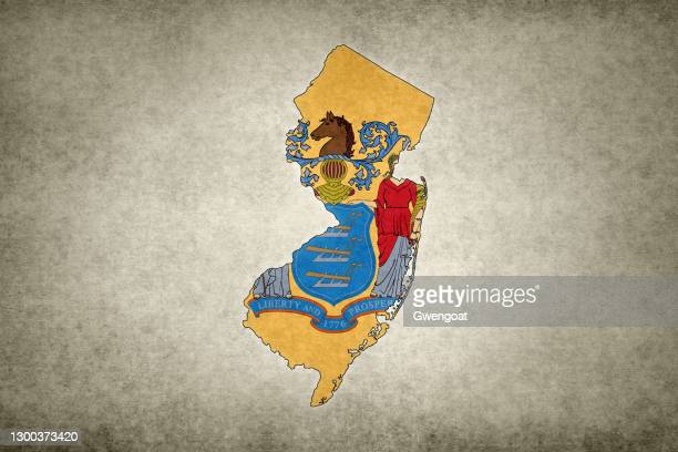 grunge map of the state of new jersey with its flag printed within - gwengoat stock pictures, royalty-free photos & images