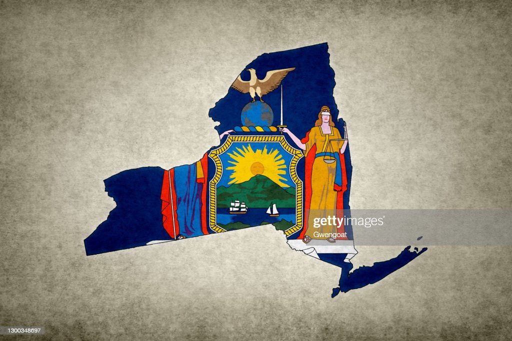 Grunge map of the state of New York with its flag printed within : Stock Photo
