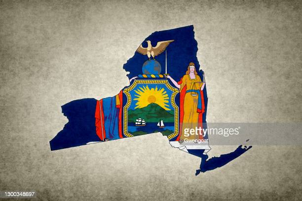 grunge map of the state of new york with its flag printed within - gwengoat stock pictures, royalty-free photos & images