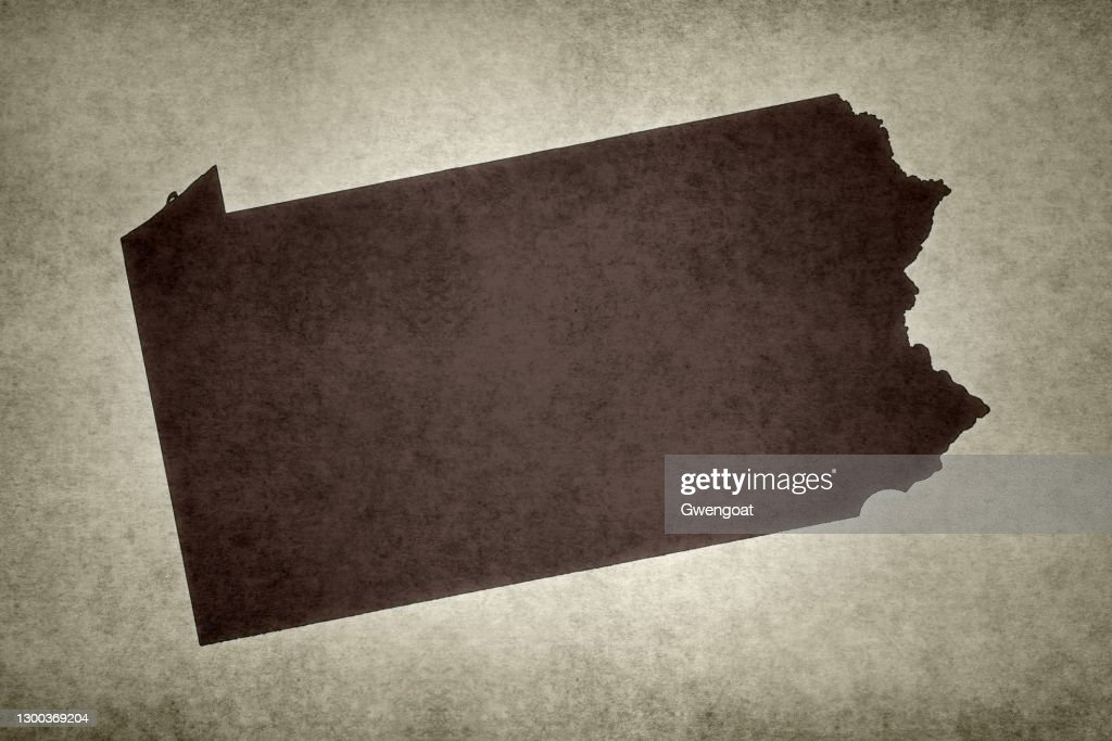 Grunge map of the state of Pennsylvania : Stock Photo