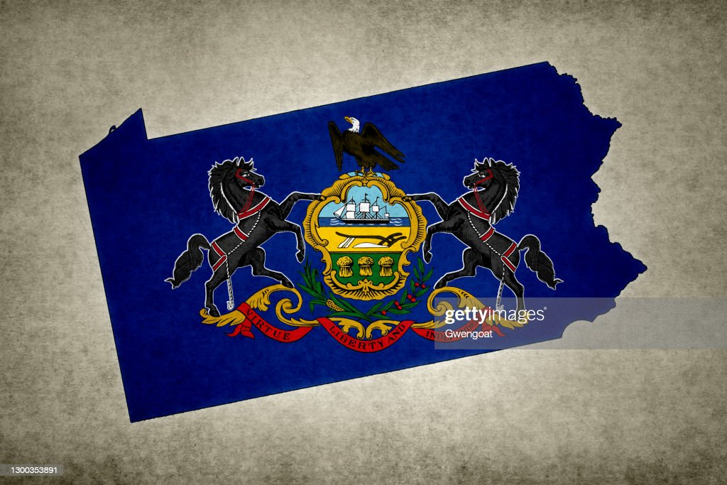 Grunge map of the state of Pennsylvania with its flag printed within : Stock Photo