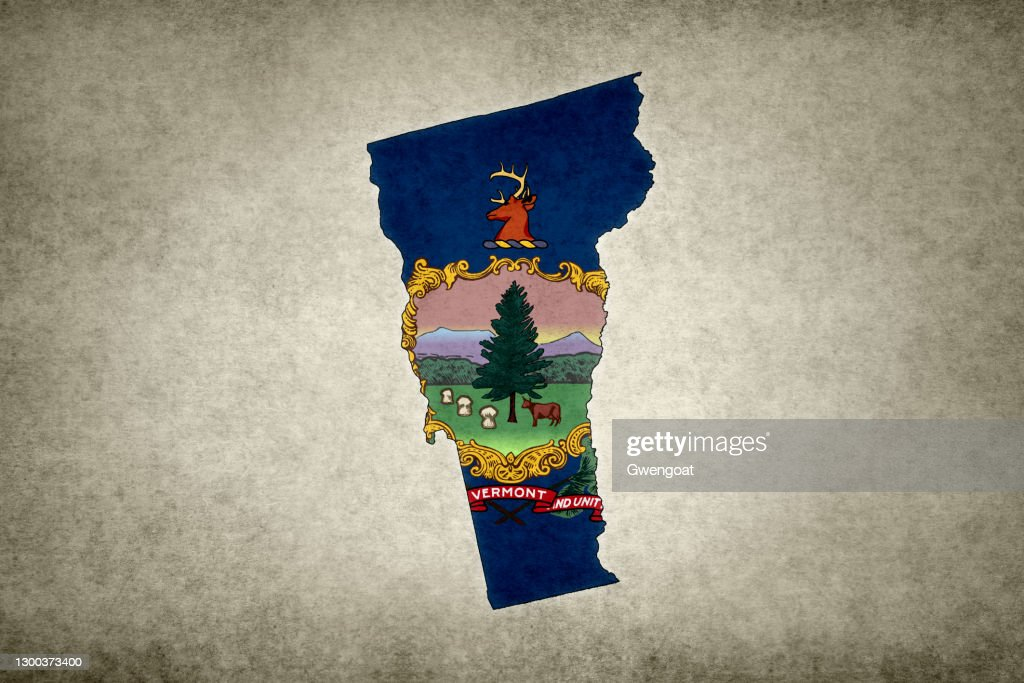 Grunge map of the state of Vermont with its flag printed within : Stock Photo