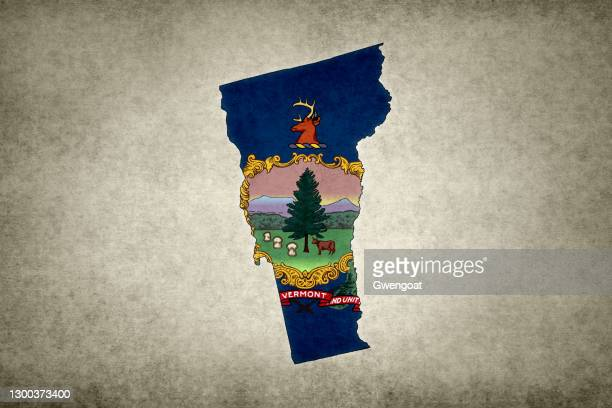 grunge map of the state of vermont with its flag printed within - gwengoat stock pictures, royalty-free photos & images