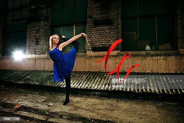 grunge rhythmic gymnastics - ribbon dance - rhythmic gymnastics stock pictures, royalty-free photos & images