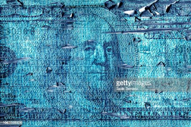 grunge style binary code of one and zero with American one hundred dollar bill