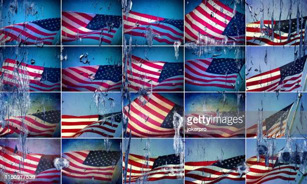 grunge style group waving american flag