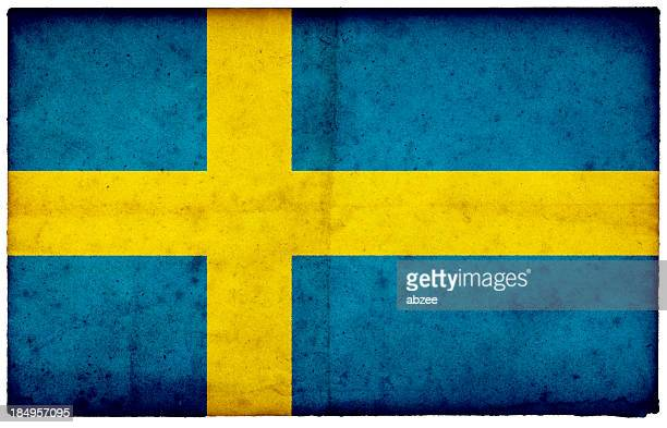Grunge Swedish Flag on rough edged old postcard