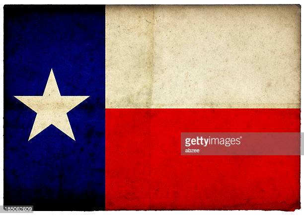 Grunge Texas State Flag on rough edged old postcard