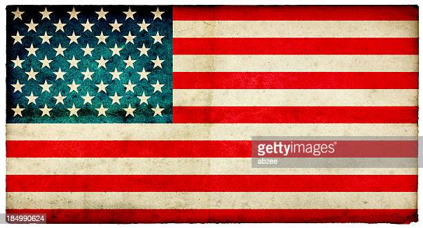 Grunge USA Flag on rough edged old postcard