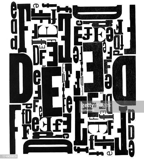 Grunge Wood Type Letters D E F