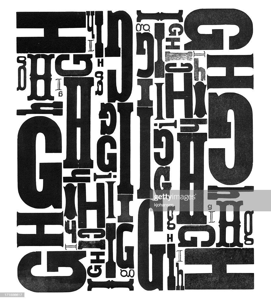 Grunge Wood Type Letters G H I : Stock Photo