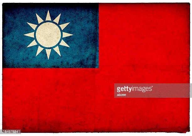 GrungeTaiwanese Flag on rough edged old postcard