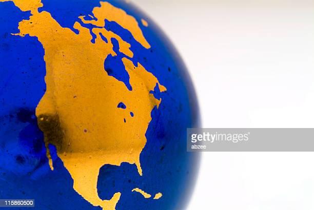 Grungey Globe Detail, North America 01