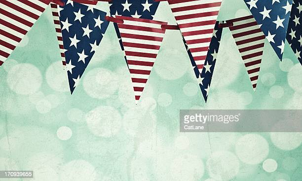 grungy american flag banners - fourth of july background stock pictures, royalty-free photos & images
