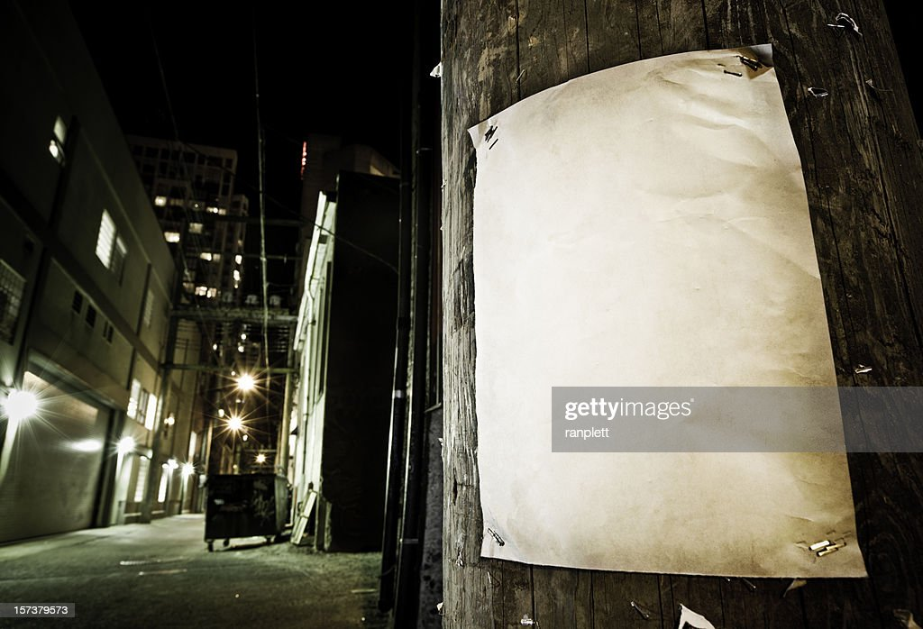 Grungy Blank Poster in Back Alley : Stock Photo