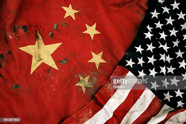 grungy flags of china and usa - china stock pictures, royalty-free photos & images