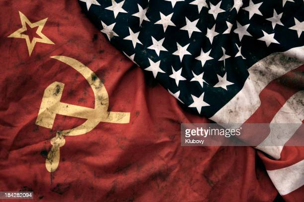 grungy flags of soviet union and usa - russian culture stock pictures, royalty-free photos & images
