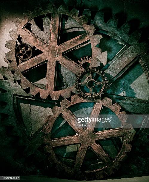 grungy gear background - steampunk stock pictures, royalty-free photos & images