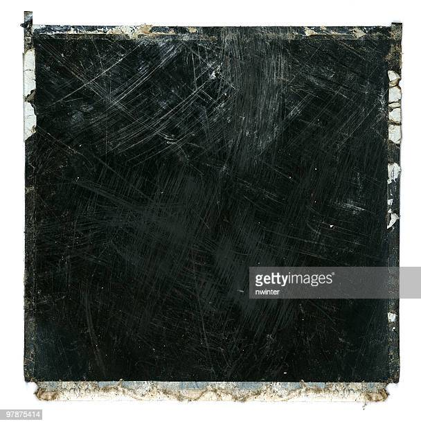 grungy ruined scratched film frame - foto stockfoto's en -beelden