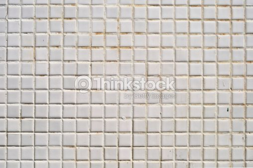 Grungy White Square Ceramic Tiles Texture Stock Photo