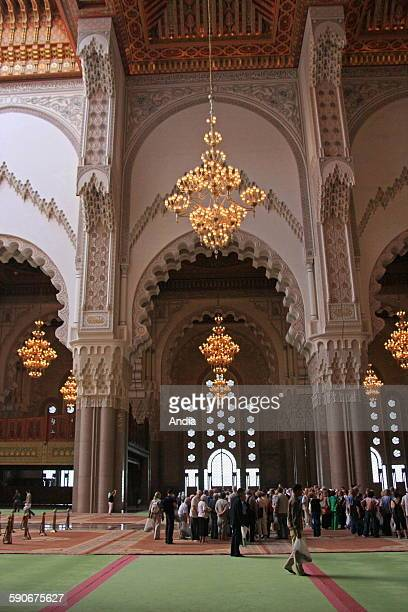 Grup of tourists inside the Hassan II Mosque in Casablanca in Morocco