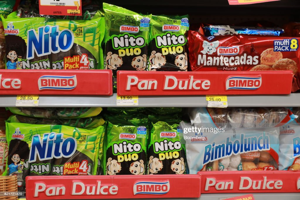Grupo Bimbo SAB brand snacks sit on display for sale at a