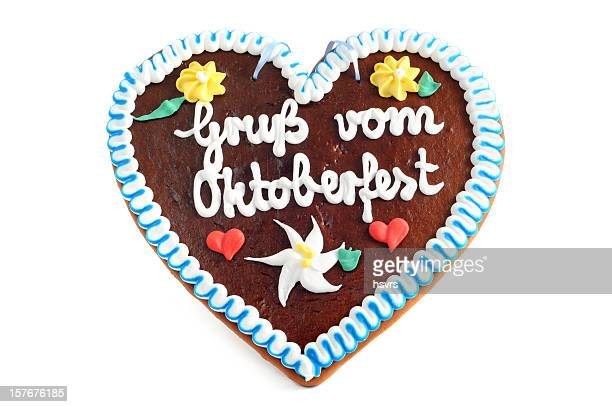 Gruss vom Oktoberfest Gingerbread Cookie in Herzform