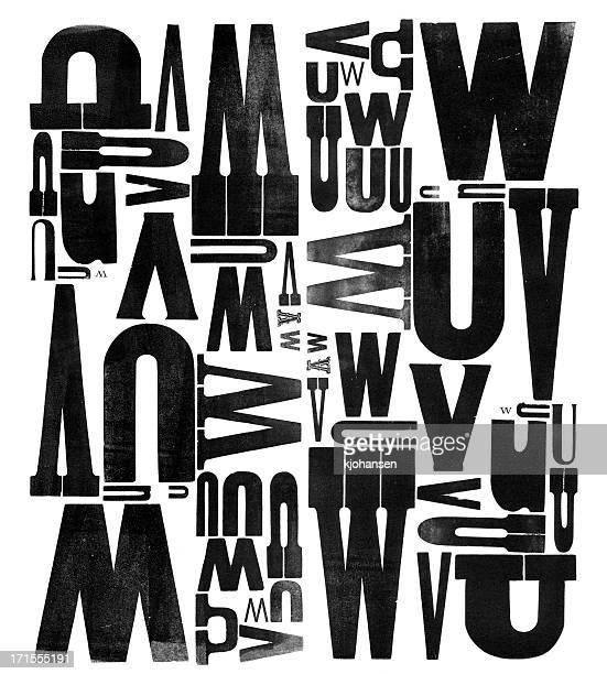 gruunge madeira tipo letra u v w - texto datilografado - fotografias e filmes do acervo