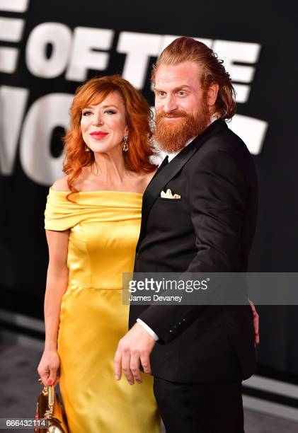 Gry Molvaer Hivju and Kristofer Hivju attend 'The Fate Of The Furious' New York premiere at Radio City Music Hall on April 8 2017 in New York City