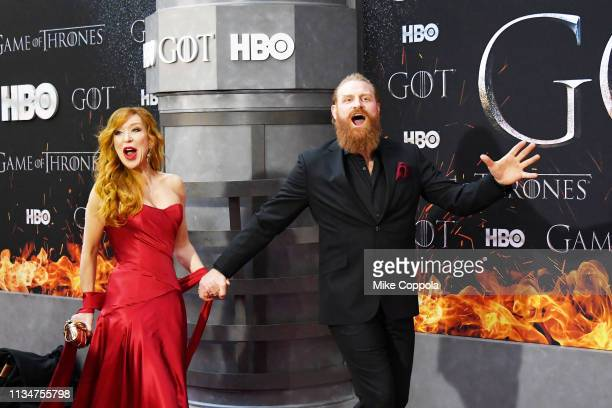 Gry Molvær Hivju and Kristofer Hivju attend the Game Of Thrones season 8 premiere on April 3 2019 in New York City