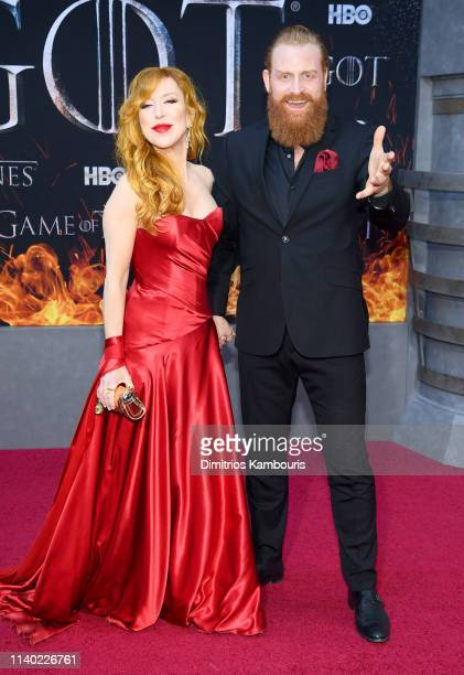 Gry Molvær Hivju and Kristofer Hivju attend the Game Of Thrones Season 8 Premiere on April 03 2019 in New York City
