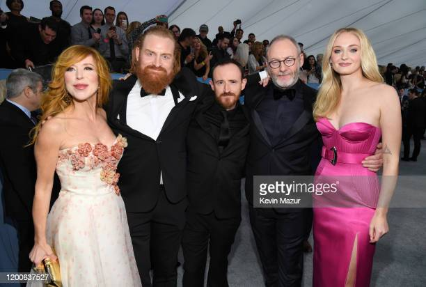 Gry Molvær Hivju Kristofer Hivju Ben Crompton Liam Cunningham and Sophie Turner attend the 26th Annual Screen Actors Guild Awards at The Shrine...