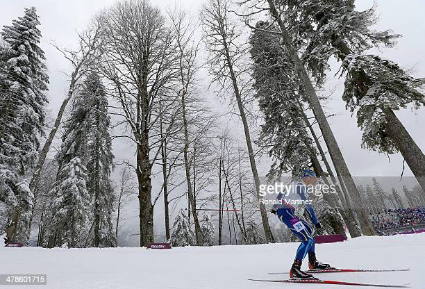 Grygorii Vovchynskyi of Ukraine competes in the Men's 15km Standing Biathlon during day seven of Sochi 2014 Paralympic Winter Games at Laura...