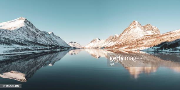 "gryllefjorden panoramic landscape during a beautiful winter day - ""sjoerd van der wal"" or ""sjo"" stock pictures, royalty-free photos & images"