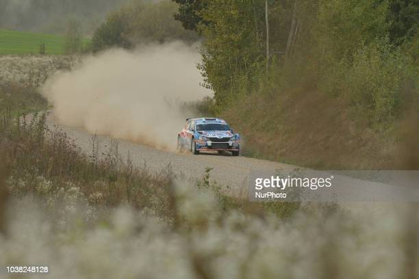 Grzegorz Grzyb and Jakub Wrobel on Skoda Fabia R5 in action during Paprotki 1522km stage on Day Two of the PZM 75th Rally Poland in Hotel Gobiewski...