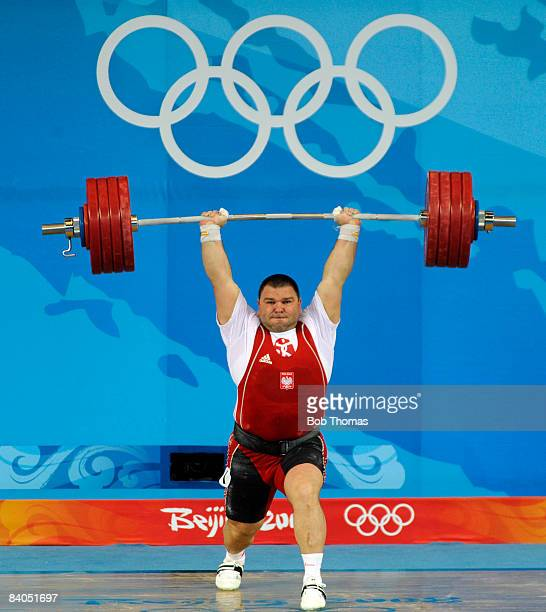 Grzegorz Kleszcz of Poland during the Men's 105 kg group weightlifting event at the Beijing University of Aeronautics Astronautics Gymnasium on Day...