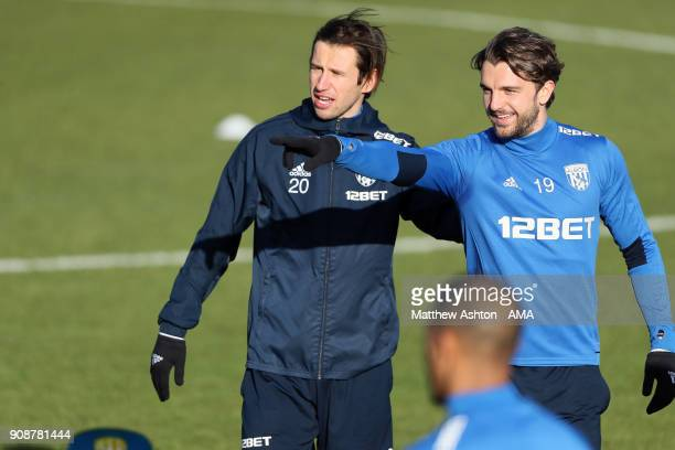 Grzegorz Krychowiak and Jay Rodriguez of West Bromwich Albion during a West Bromwich Albion Training Session on January 22 2018 in West Bromwich...