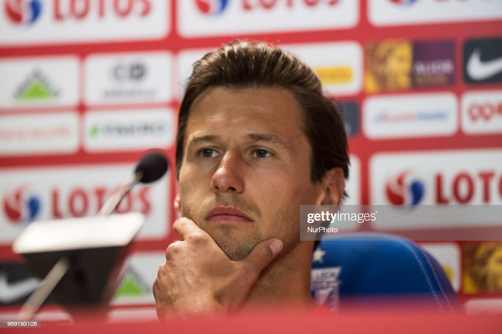 Grzegorz Krychowiak attends during press conference before friendly match Poland and Chile in Poznan, Poland, on 7 June 2018.