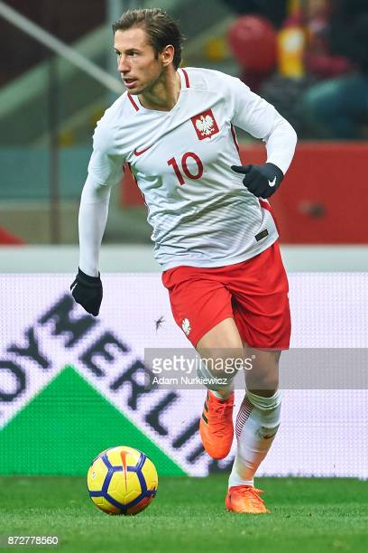 Grzegorz Krychowiak from Poland controls the ball while Poland v Uruguay International Friendly soccer match at National Stadium on November 10 2017...