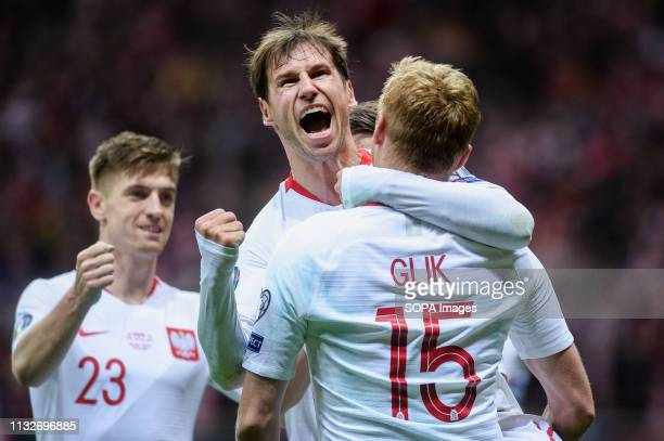PGE NARODOWY WARSAW MASOVIA POLAND Grzegorz Krychowiak from Poland seen celebrating with his team mates after scoring a goal during the Euro 2020...