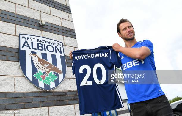 Grzegorz Krychowiak is unveiled as a West Bromwich Albion player at their training ground on August 30, 2017 in West Bromwich, England.